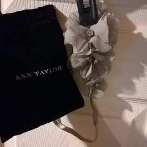 Ann Taylor Headband grey flowers with jewels